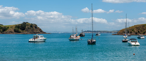 Waiheke Island with Auckland on the skyline, New Zealand