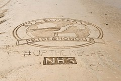 AFC Blackpool Sand Art supporting NHS UK