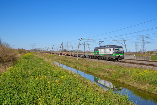 LTE 193 735 met lege containerwagenset, Herveld
