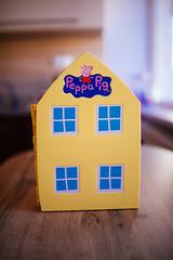 Pepa pig house toy closeup.