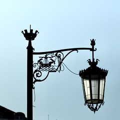 Traditional Lisbon Street  Lamp with the iconic city symbols ( The crows and the Sailing Ships [Naus] used in the Portuguese Sea Discoveries