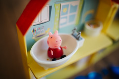 Pepa pig in the bathroom.