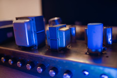 Guitar aplifier transformators closeup.