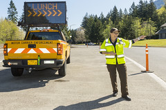 Oregon DOT's Carla Phelps directs truckers where to go