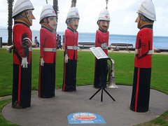 Geelong. The Volunteer Rifle Band on the pier. Artist Jan Mitchell transformed 100 old waterfront bollards into stunning bollard figures in 1995.