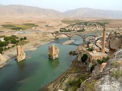 Old and new bridge of Hasankeyf