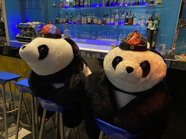 Pandas in the bar at the Novotel Taipei Taoyuan International Airport