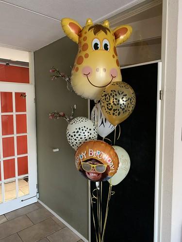Ballonboeket Verjaardag Jungle Giraf Aap