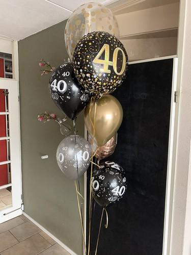 Ballonboeket Zwart Goud Verjaardag 40 Jaar