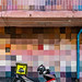 Motorcycle and Patchwork Building, Chula Art Town, Bangkok