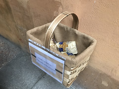 Food basket hanged in Bologna during the Coronavirus crisis
