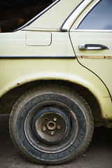 Close-up of Mercedes w123 tire.