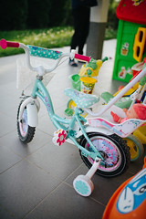 Colorful child bicycle at home.