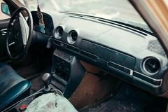 Old car interior closeup.