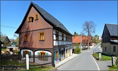 Umgebindehaus in Ottendorf in der Sächsischen Schweiz