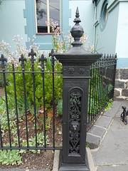 Geelong. Cast iron fence and gate posts to the former Free Presbyterian Church at 2 Myers Street.
