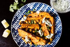 Sweet potatoes and za'atar chickpeas with herby yogurt
