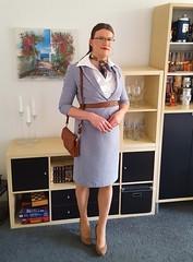 Satin blouse under skirt suit