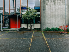 red cart, red door