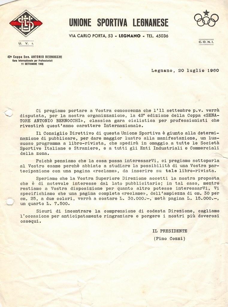 Lettera per partecipazione a una pagina reclame su libretto corsa 1960