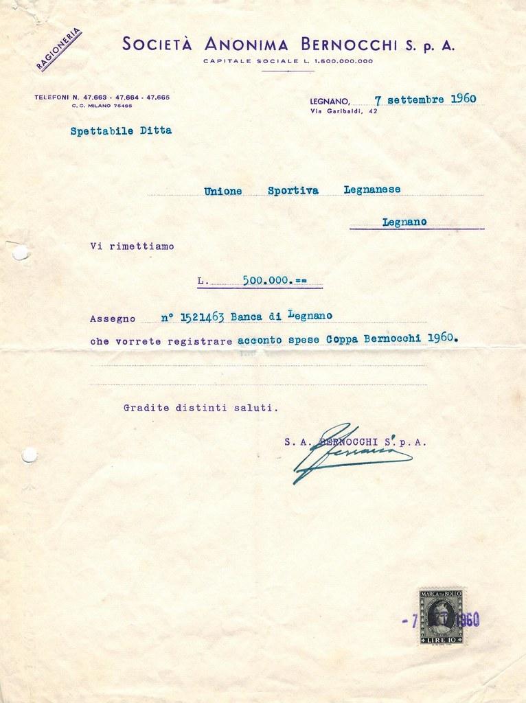 Acconto spese Coppa Bernocchi 1960