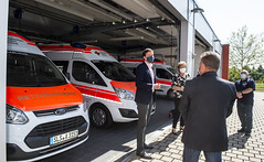 Ministerpräsident Tobias Hans besucht DRK Rettungswache Saarlouis