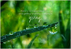 Henry Drummond …there is no happiness in having and getting anything, but only in giving