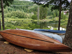 Canoes on the lakeshore