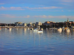Geelong. The quiet waters of Corio Bay at dusk with city beyond.