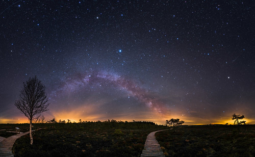 milky way and bright stars above Schwarzes Moor, Rhön, Germany