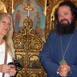 Vassula with Archbishop Cretu of the Romanian Patriarchate in Jerusalem