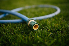 Colorful watering pipes on green grass closeup.