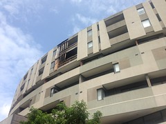 Burn damage from apartment fire, Brunswick