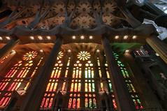 Stained glass windows at La Sagrada Familia - Barcelona