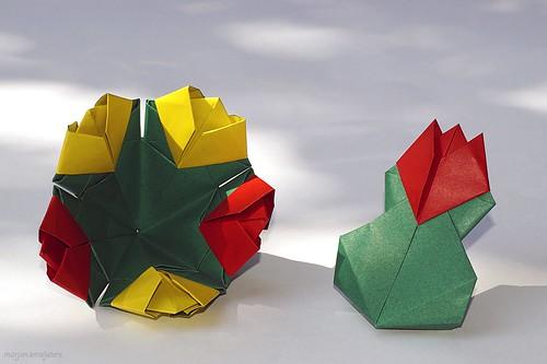 Origami Tulip and Tulip bouquet (Noriko Nagata)