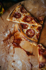 Bang ketchup and pepperoni pizza.