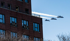 Navy's Blue Angels and Air Force Thunderbirds Fly Over New York City COVID19