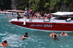 A long halt at Maya Bay allows people to swim in the Andaman Sea