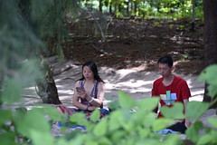 I thought these people were meditating in a secluded spot- they were actually texting!
