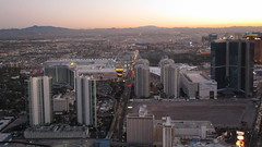 Nevada - Las Vegas:  Dusk over Paradise Road with WESTGATE Casino, the  Las Vegas Convention Center and McCarran International Airport