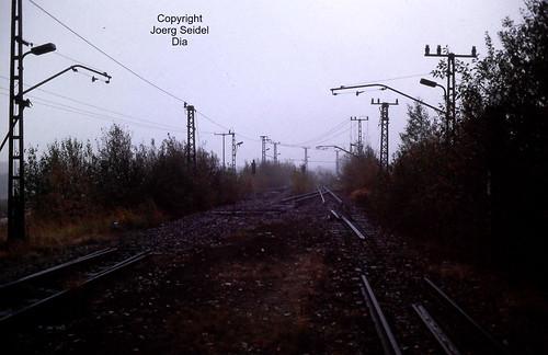 DE-09337 Callenberg 900 mm spurige Erzbahn des VEB Nickelhütte St.Egidien Gleisanlagen im Oktober 1991