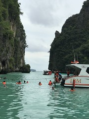 Some people are actually snorkeling here at Pi Leh Bay