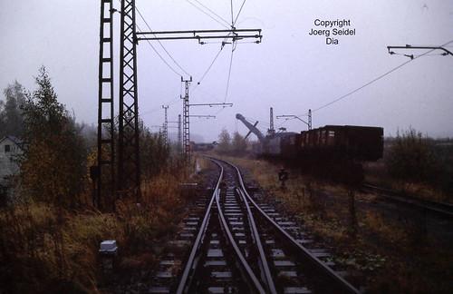 DE-09337 Callenberg 900 mm spurige Erzbahn des VEB Nickelhütte St.Egidien Güterwagen im Oktober 1991