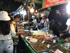 A variety of roasted meats on offer in the Banzaan Night Market in Phuket