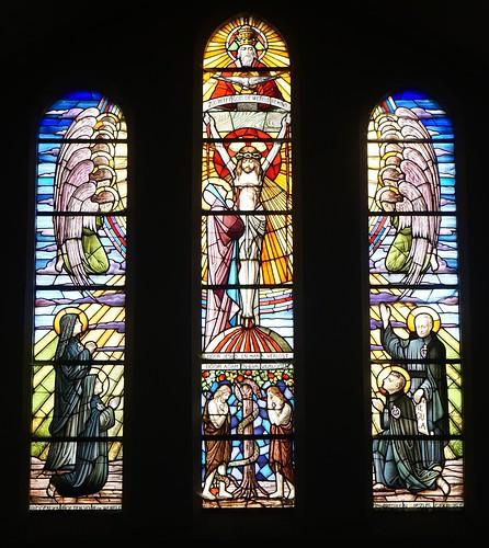 Calvarieberg, aanbidding door engelen en Passionisten, zondeval van Adam en Eva