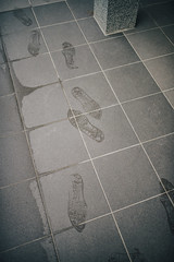 Footprints on tiles form above.