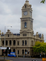 Geelong. The towered Post Office on the corner of Ryrie and Gheringhap Streets.  Postal services began around 1840. This Post Office was built 1890. It is now closed as a Post Office.
