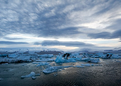 Nature Landscape Photo of Icebergs in Iceland with Cloudy Sky