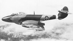 1946 RNZAF Gloster Meteor NZ6001, the first jet aircraft of any sort in New Zealand on a display flight over Auckland with its recently acquired NZ serial, 30 Mar 1946.