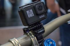 Close Up Photo of Action Camera GoPro Hero 7 Black mounted on Bicycle Handlebar
